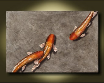 Shine....24x36 Beautiful Original Koi Painting....Home Decor...Office....Commercial space