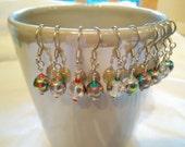 Fire Polished Glass and Glass Seed Bead Earrings