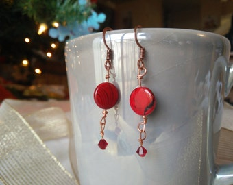 Red Acrylic Disk Bead Earrings with Swarovski Crystal Accents