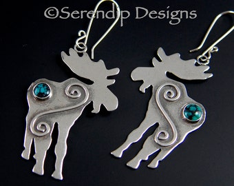 Sterling Silver Moose Earrings with Turquoise, Shiny Silver Large Dangles,