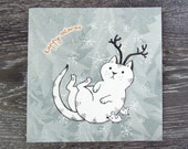 Postcard Cat with Antlers, Happy Catmas Card, Christmas Greetings, pencil drawing, modern retro elegant design, winter wonderland snowflakes