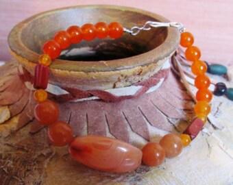 Natural 100% Peach Aventurine and Carnelian Semi-Precious Stone Bracelet