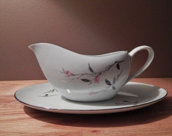 Vintage Cherry Blossom Fine China Gravy Boat and Saucer