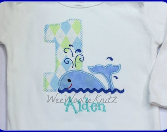 Argyle Whale Birthday Shirt Bib Boys Preppy Ocean Summer Personalized Applique Toddler 1st 2nd 3rd Summer