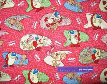 The REN & STIMPY Show Cartoon Chihuahua Dog Cat Cotton Fabric By The Half Yard