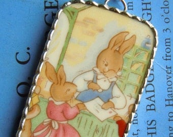 Fiona & The Fig - EXTRA LARGE - Royal Doulton Bunnykins - Post Master - Broken China Soldered Necklace Pendant Charm