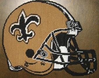 New Orleans Saints Football Helmet Plastic Canvas Pattern