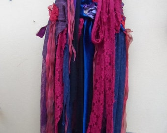 "20%OFF SALEgothic inspired extra shabby wrap skirt/shawl...a work of art 42"" across plus ties."