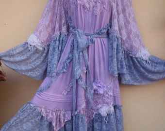 "20%OFF bohemian gypsy lagenlook hippy cotton shabby dress ....medium to 44"" bust"
