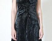 velvet dress, 90s vintage black on black velvet bustier mini dress, goth club punk, womens medium m