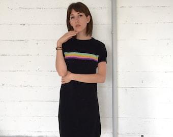 rainbow dress, 90s black soft chenille knit short sleeve mini dress w/ rainbow stripes, 90's does 70s, medium m
