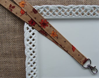 Fabric Lanyard ID -  Harvest Leaves - FALL