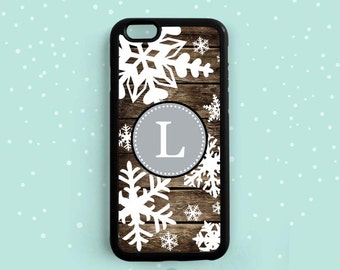 Christmas Snowflake Rustic Wood Pattern Personalized initial, iPhone 6 6s plus 5s 5c 4s, Samsung Galaxy S6 S5 S4 S3, Note 5 4 3 Am36