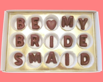 Ask Bridesmaid Invitation Gift Will You Be my Bridesmaid Chocolate Gift Bridesmaid Proposal Gift Chocolate Letters Creative Way Fun Unique