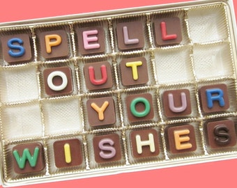 Customized Chocolate Message Box Personalized Candy Letters Gift for Men Him Customized Women Gift for Her 24 pc Chocolate Jelly Bean Cube