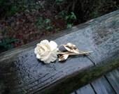 On Sale Vintage New Orleans Estate Sale Carved Flower Signed BURT CASSELL 1/20 12KT Gold Filled Brooch