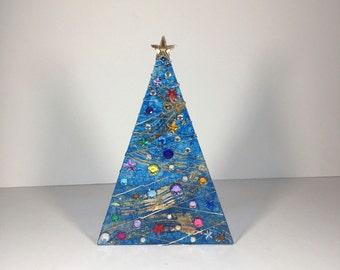 Blue Swirl and Gold Foil Swirl Christmas Tree Light