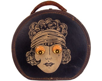 1920s Novelty Handbag, Flapper Hat Box, Train Case, Antique Carnival, Rare and Collectible