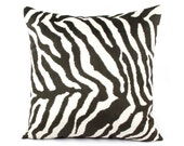 Black and Ivory Zebra Pillow Cover 20x20 with Faux Suede on Back, Throw Pillow, Accent Cushion, Faux Fur Pillow, Walk on the Wide Side