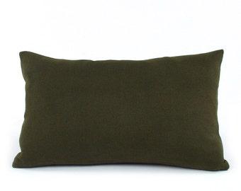 Green Cashmere Lumbar Pillow Cover 12x20 with Denim, Wool Cushion Cover, Wool Pillow, Throw Pillow, Accent Pillow, Toss Pillow, Urban