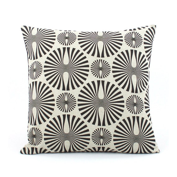 Black Pillow Cover 18x18 with Circles and Stripes, Natural Pillow, Tan Pillow, Taupe Pillow, Throw Pillow, Cushion Cover, Cirque Figures