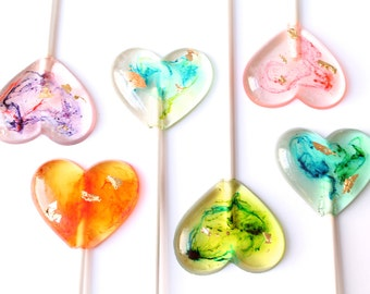 Marbleized Tie Dye  Psychedelic Gold Leaf Silver Leaf Heart Lollipops set of 10