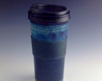 Coffee Travel Mug / Travel Tumbler  with silicone lid - Blue