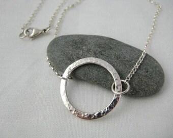 Sterling Silver Textured Cirular Necklace - Full UK Hallmarks - CMcB Jewellery