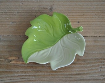 Vintage Carlton Ware china beige and green trinket dish - Autumn leaf