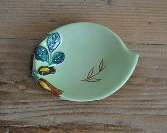 Vintage Carlton Ware china trinket dish - Green leaf with floral flower decoration