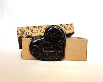 Black Glitter Heart Necklace with Crimson Vines- Polymer Clay Heart