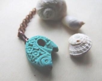 Retro Koi Necklace, Blue Japanese Koi Pendant, Boho, Rustic, Turquoise Blue Koi Necklace