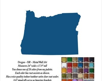 """Oregon metal wall art - 24"""" wide - choose your color with rust patina - metal wall art sign - Portland Salem OR"""