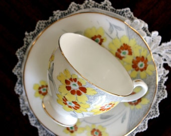 Royal Stafford, Teacup and Saucer, Bone China Footed, Hand Painted Tea Cup 13457
