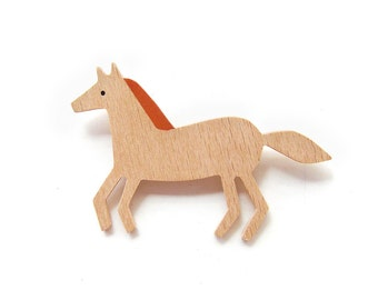 Horse brooch · Wooden brooches  · Hand-painted beech wood brooch · Eco-friendly Jewelry ·
