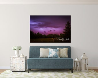 Photographic Wall Art - Alberta Thunder Rolls - Lightening In the country - Aluminum Metal print ready to hang - Fine Art Photography