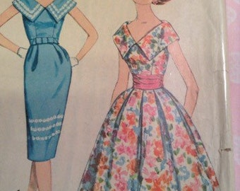Vintage Simplicity 2910 Collared Dress Pleated Full or Wiggle Skirt Sewing Pattern 32 Bust