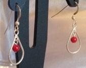 Red coral sterling silver drop earrings