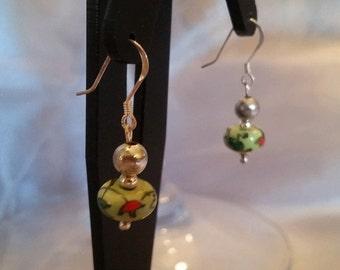Sterling Silver Ceramic Bead Earrings Green
