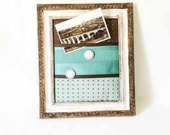 Memo board - Teal brown fabric memo board -  Office organizer - Fabric bulletin board -  Jewelry organizer - Message board