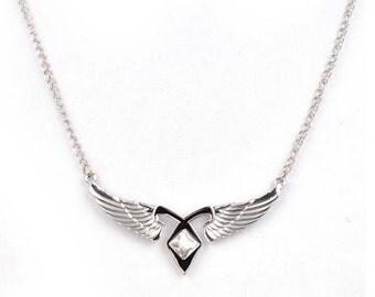 Angel Wings Necklace - Pendant - Fantasy - GlazedBlackCherry