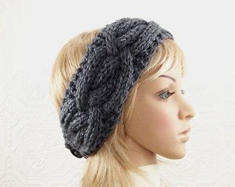 Knit headband, head wrap, ear warmer - grey, gray - women's winter accessories handmade gift for her by Sandy Coastal Designs ready to ship