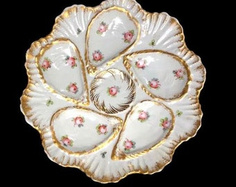 Antique French Porccelain Oyster Plates - Marie Antionette Style - Beach house Lifestyle - Old Paris Porcelain