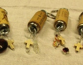 Beringer, Pinot Evil, Gallo Family ,Chateau Elan Winery Wine Faux Ivory Cross Cork Key Rings Chains Beaded Choice Glass Beads