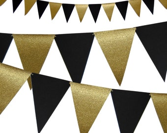 Graduation Banner, Birthday Black and Gold Party Decor, 6ft Photography Prop, Triangle Flag Bunting Banner