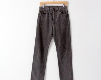 1980s vintage black Levi's denim jeans, waist 30
