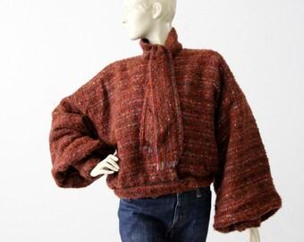 vintage Nikos Handwoven sweater, 80s art knit jacket