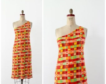 SALE neon print dress, 1970s asymetrical print vintage dress
