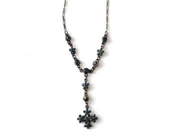 vintage Bellagio Crystal necklace, 70s blue cross necklace