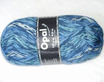 Wool Silk Sock Yarn, Opal Yarn, Blue Turquoise White, Fingering Weight, Self Striping Yarn, Superwash Wool